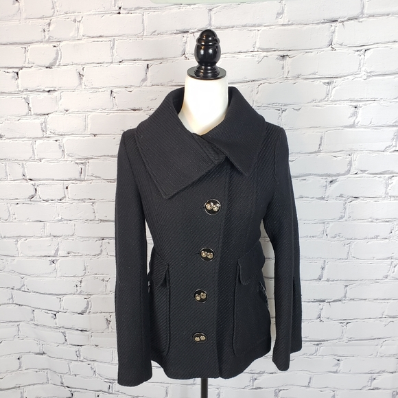 Mackage Black Wool-blend Coat with Leather…